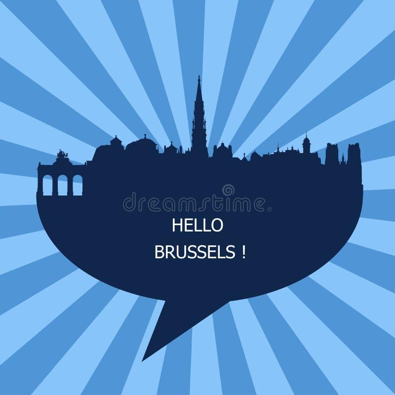 你好布鲁塞尔象征,比利时 库存例证