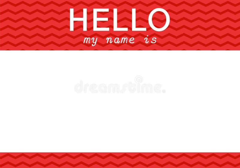 你好我的名字是-标签 库存例证