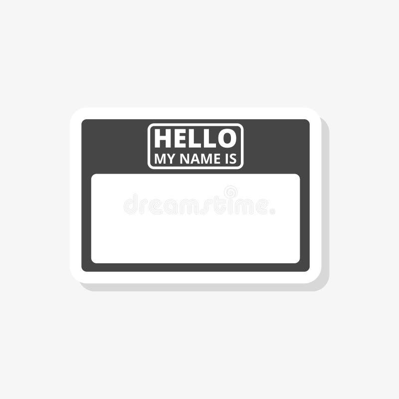 你好我的名片,与拷贝空间贴纸,简单的传染媒介象 向量例证