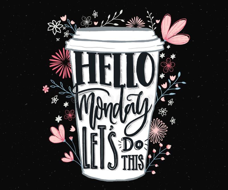 你好星期一,让` s做此 关于星期一的滑稽的诱导行情和星期开始 社会媒介的手字法,墙壁 库存例证