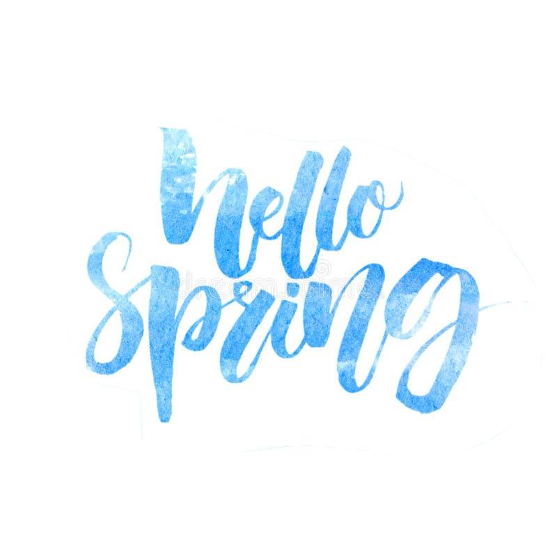 你好春天文本 在白色背景与水彩纹理的手写的刷子字法隔绝的 向量例证