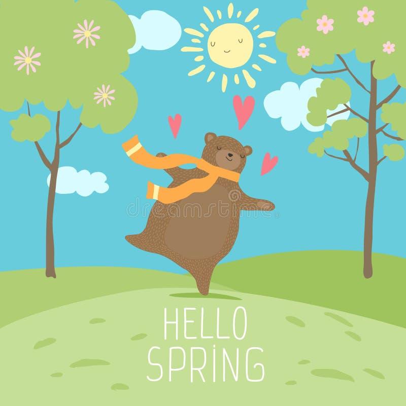 你好春天森林风景 逗人喜爱的熊爱春天,晴朗的时间,在绿色新鲜的草的舞蹈 免版税库存照片