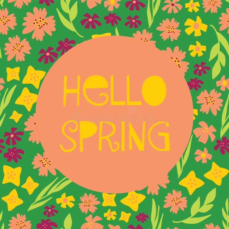 你好春天说明了与文本,五颜六色的各种各样的花的女性传染媒介横幅拼贴画样式 黄色桃红色绿色背景 向量例证