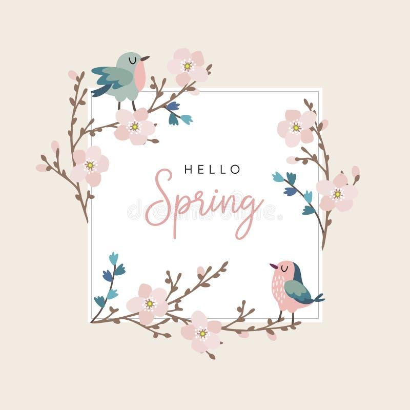 你好春天贺卡、邀请与逗人喜爱的手拉的鸟和樱桃树分支与桃红色开花 复活节 向量例证