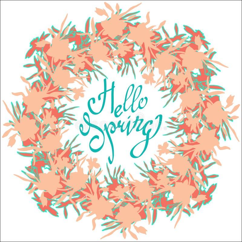 你好春天 传染媒介花五颜六色的花圈贺卡 皇族释放例证
