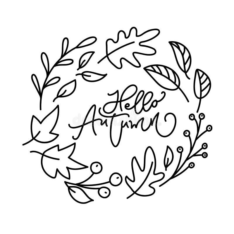 你好秋天刷子monoline书法手写的在上写字的文本 在叶子的富启示性的行情缠绕 能为照片使用 库存例证