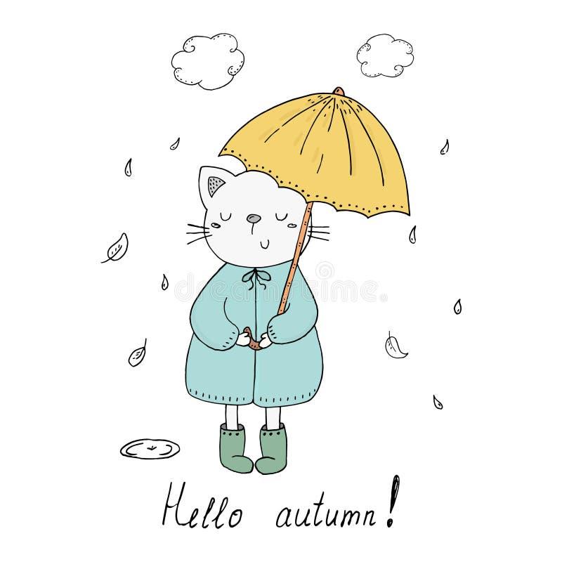 你好秋天卡片 小的猫在与一个伞传染媒介印刷品的雨中在动画片样式 库存例证