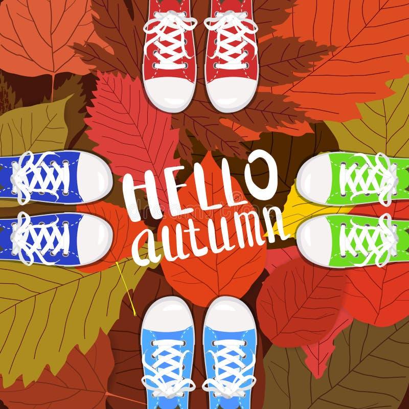 你好秋天彩色插图 站立在黄色的运动鞋的人脚,红色,绿化下落的叶子 拉长的现有量 皇族释放例证