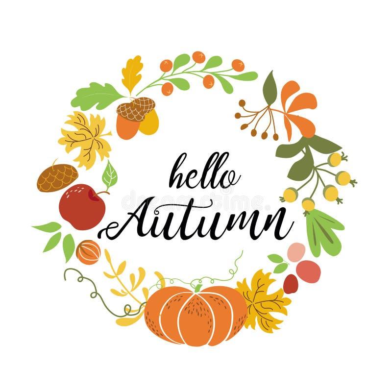 你好秋天花圈秋天元素橙色南瓜枫叶苹果橡子收获自然设计秋季传染媒介 库存例证