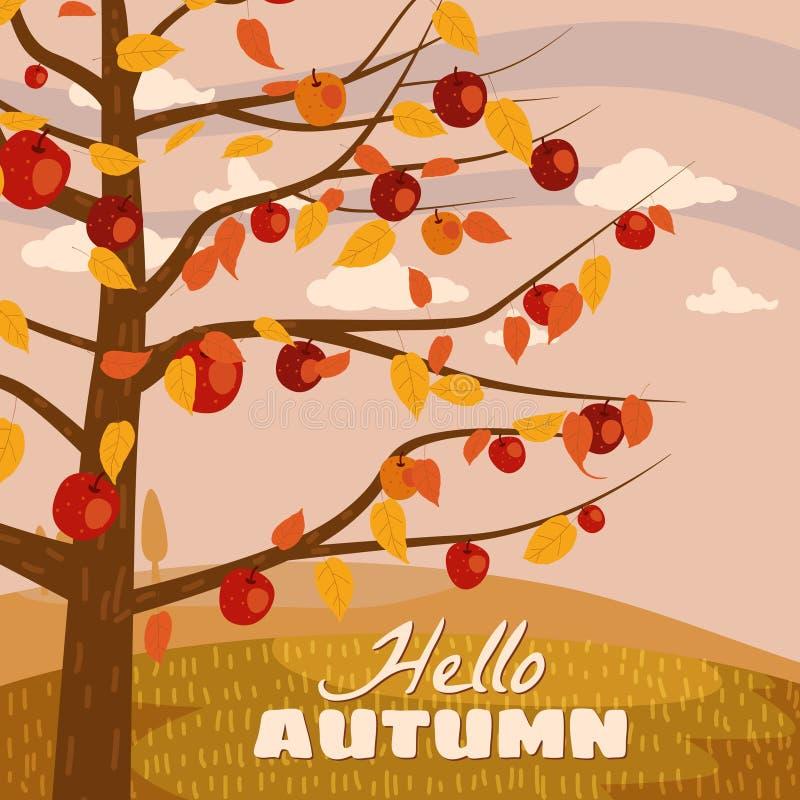 你好秋天苹果树风景果子在趋向样式平的动画片全景天际的收获季节 r 库存例证