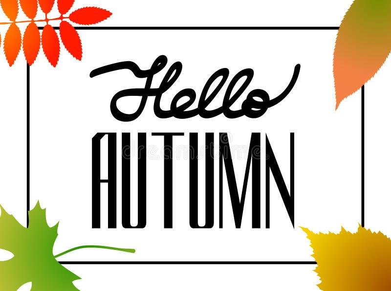 你好秋天!手拉的不同的色的秋叶 剪影,框架,设计元素 礼品券布局 ?? 皇族释放例证