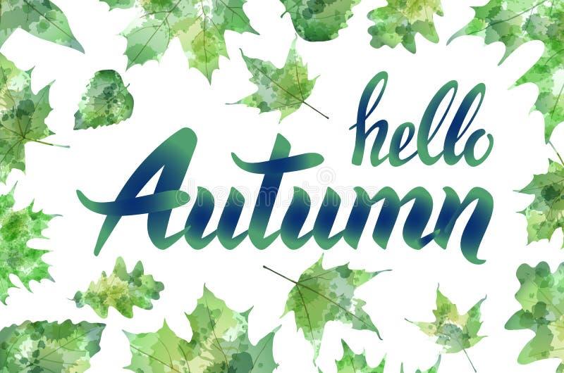 你好秋天 手拉的不同的色的秋叶 剪影,设计元素 也corel凹道例证向量 向量例证