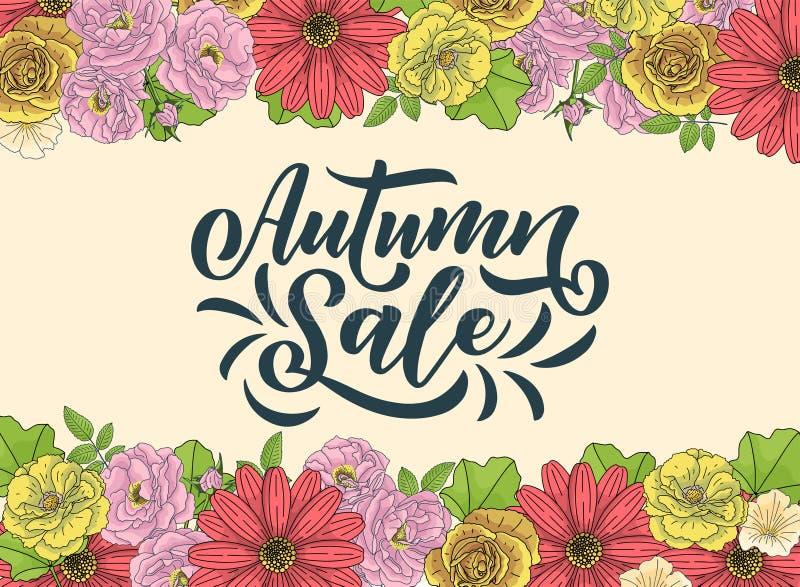你好秋天 手拉的书法和刷子笔字法 假日贺卡的季节性秋天的设计和邀请 皇族释放例证