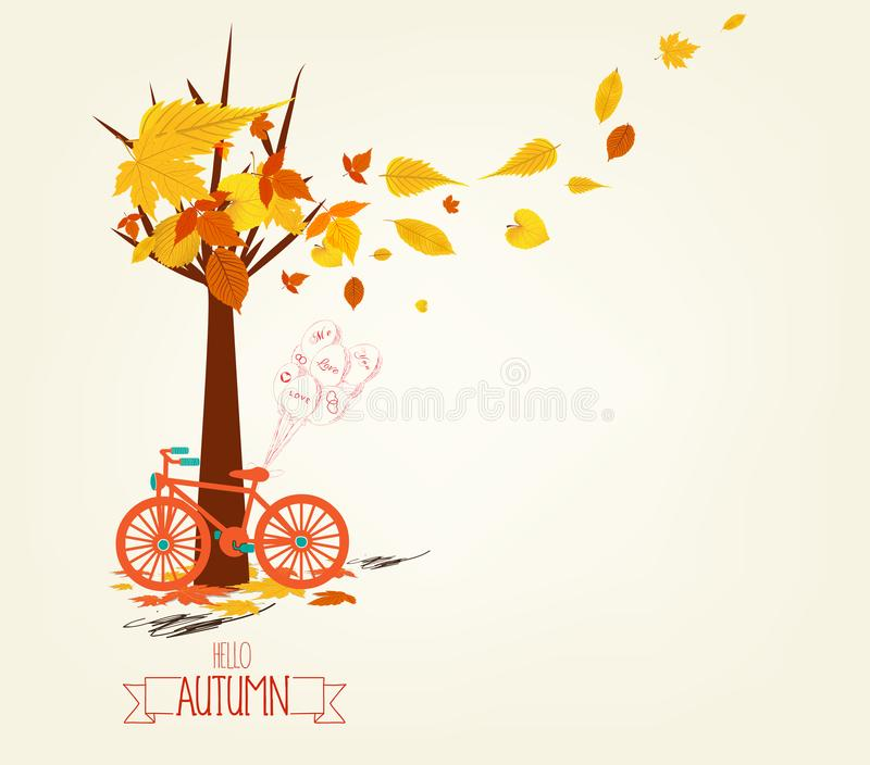 你好秋天 有秋叶的手拉的tintage自行车 库存例证