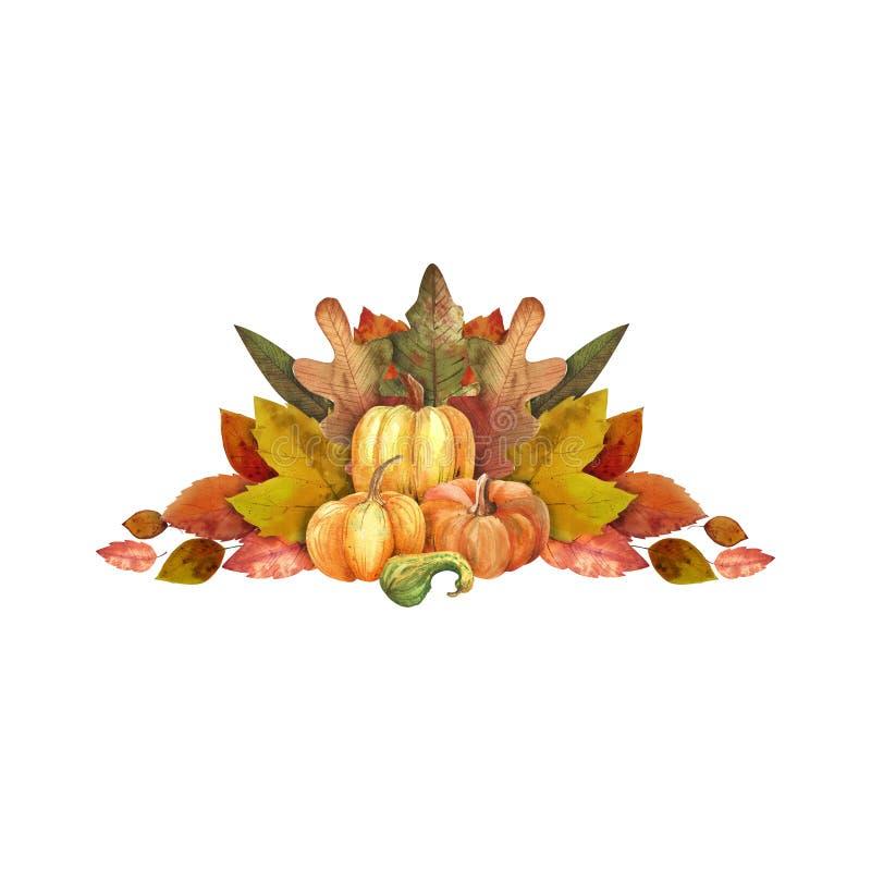 你好秋天 水彩叶子和南瓜 库存例证