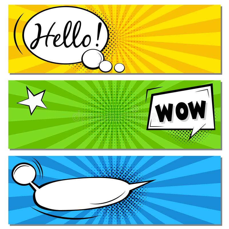 你好!哇!可笑的讲话泡影 r 葡萄酒漫画预定在绿色背景的海报 免版税库存照片