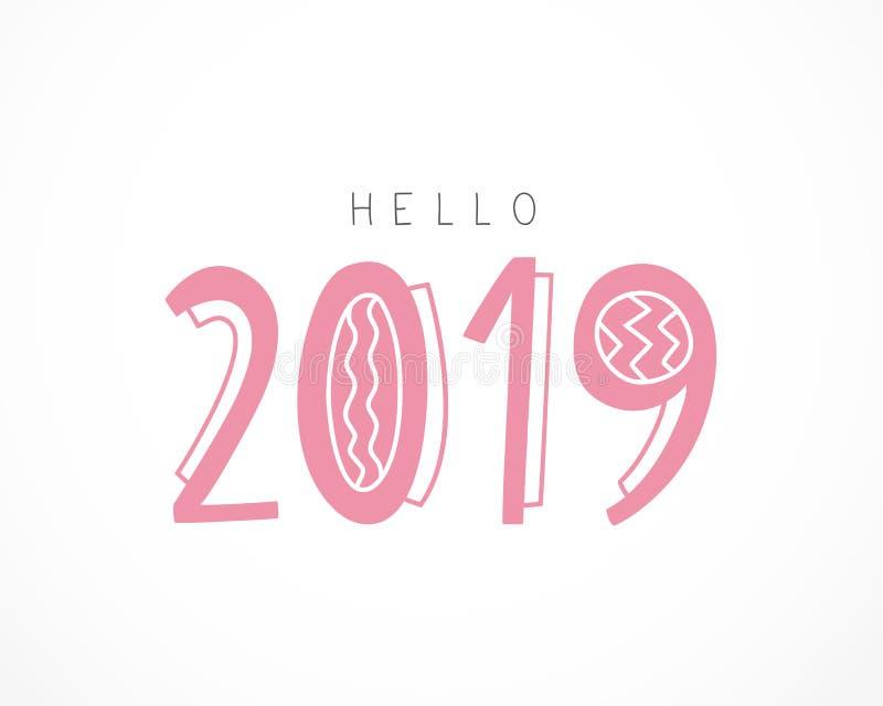 你好2019年 在白色背景的传染媒介例证图片