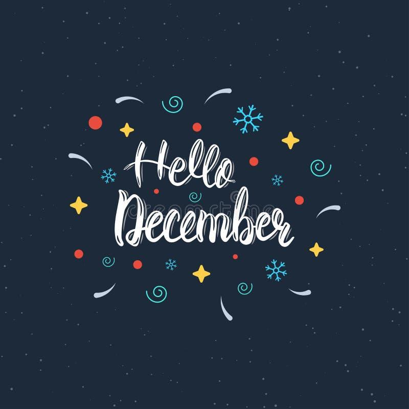 你好12月手书面现代刷子字法题字 时髦手字法行情,海报的艺术印刷品,贺卡 库存例证