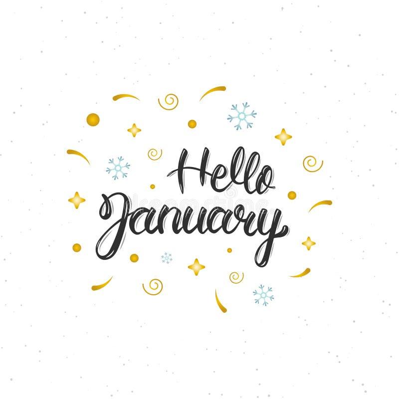 你好1月手书面现代刷子字法题字 时髦手字法行情,海报的,贺卡艺术印刷品 库存例证