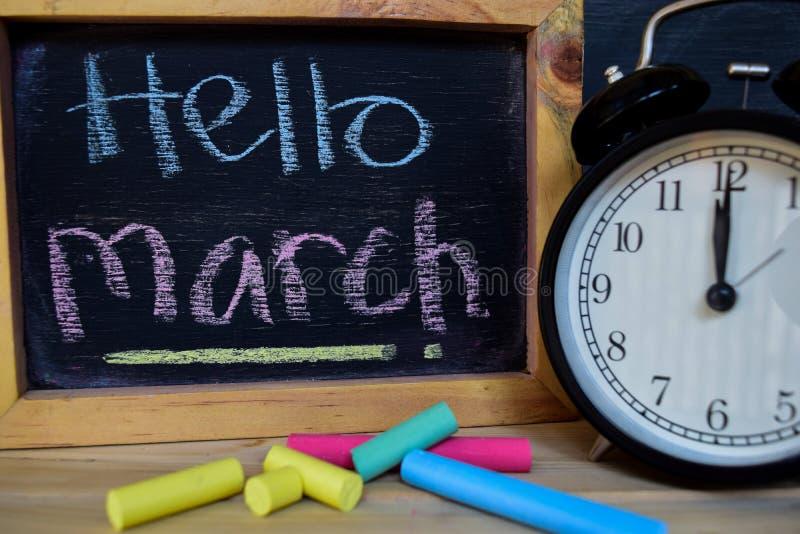 你好3月 回到概念学校 免版税库存照片