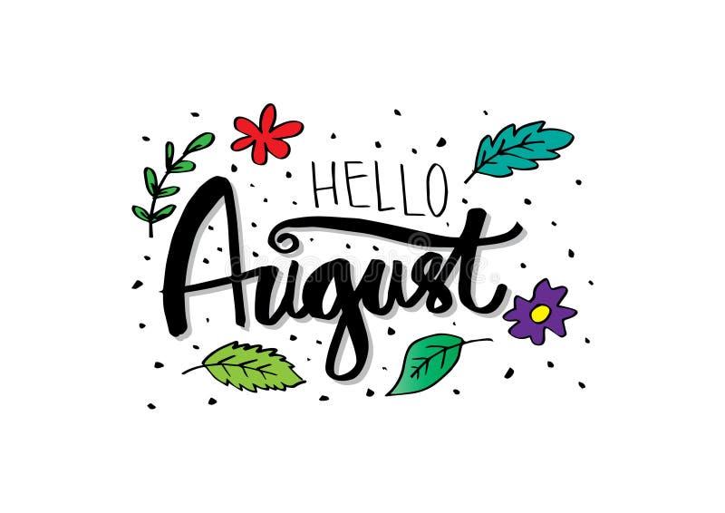 `你好8月` 现代刷子字法 库存例证