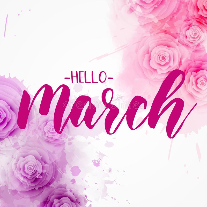 你好3月-花卉春天概念背景 向量例证