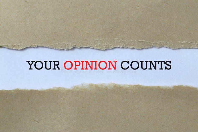 你的意见在纸面上 库存图片