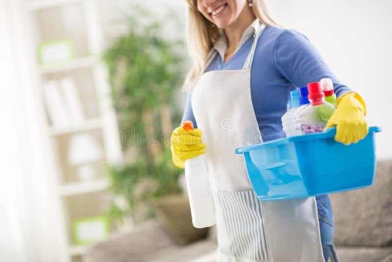 佣人举行房子清洁产品 免版税库存图片