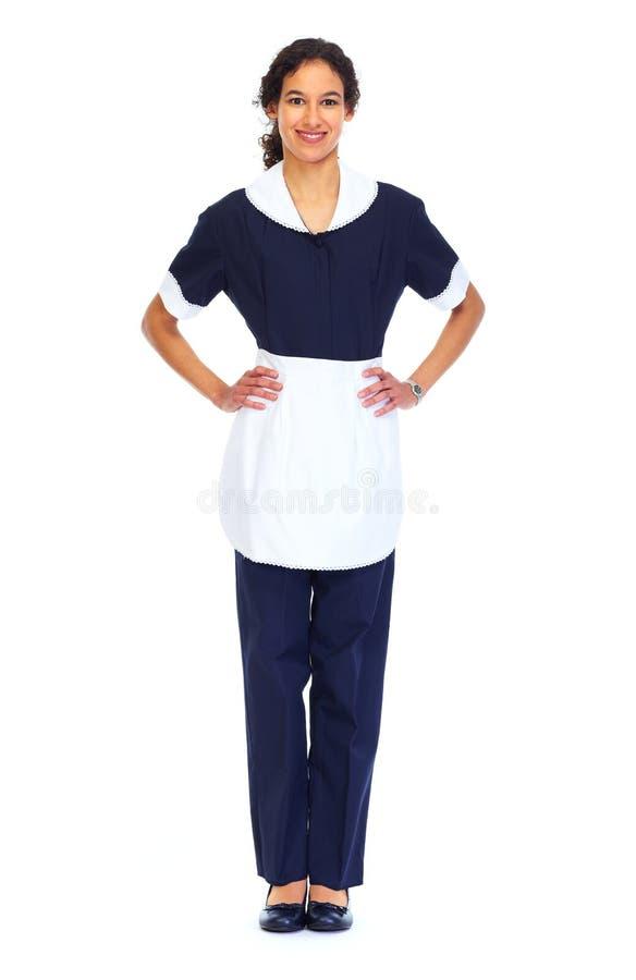 佣人妇女白色背景 图库摄影