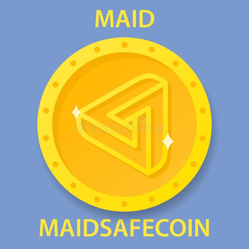 佣人安全硬币cryptocurrency blockchain象 真正电子,互联网金钱或cryptocoin标志,商标 库存例证