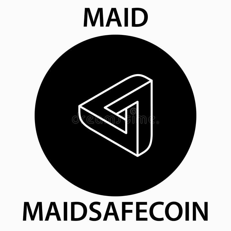 佣人安全硬币cryptocurrency blockchain象 真正电子,互联网金钱或cryptocoin标志,商标 向量例证