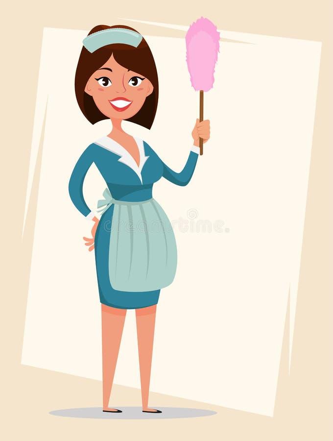 佣人,逗人喜爱的微笑的女孩在经典法国佣人衣裳穿戴了,拿着尘土刷子 向量例证