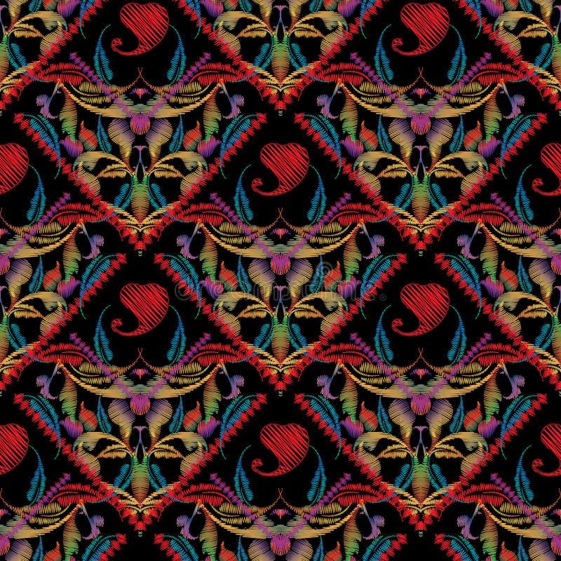 佩兹利刺绣无缝的样式 传染媒介五颜六色的挂毯fl 向量例证