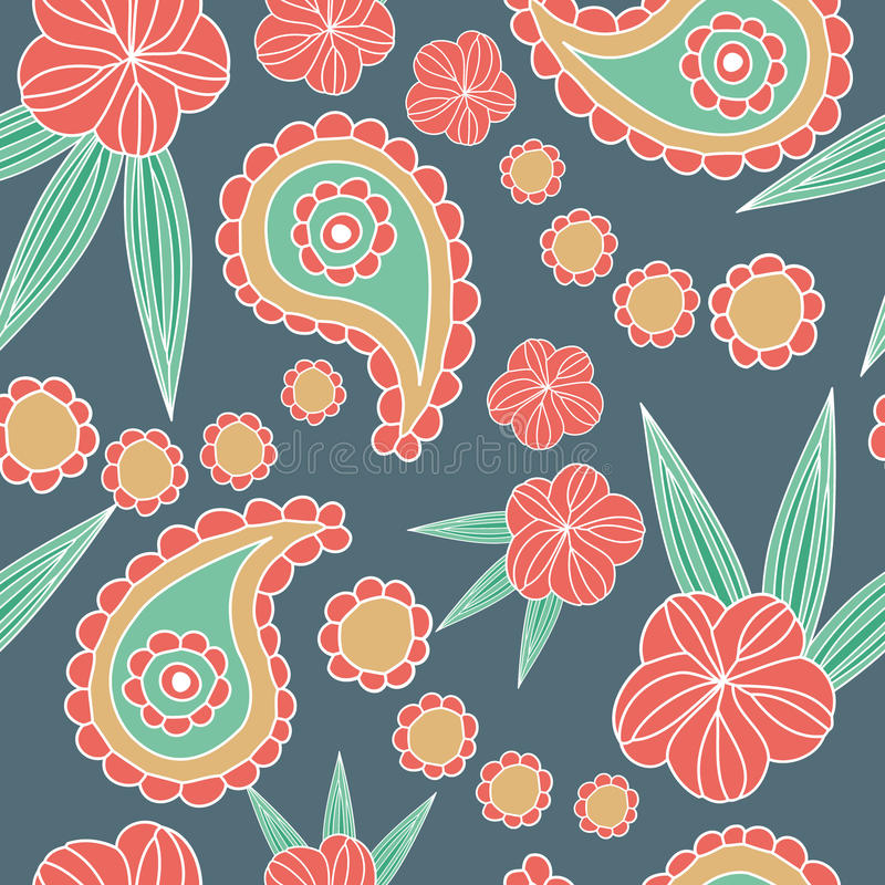 佩兹利和花背景的无缝的样式 库存例证