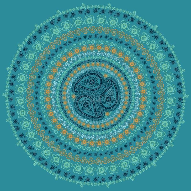 佩兹利圈子构成 在凉快的颜色的传染媒介东方主题 皇族释放例证