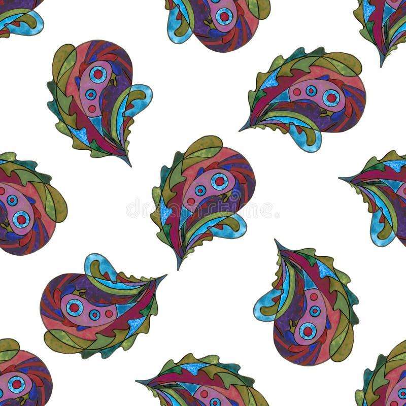 佩兹利手画无缝的样式 水彩抽象风格化叶子背景 表面设计的现代纹理 库存例证