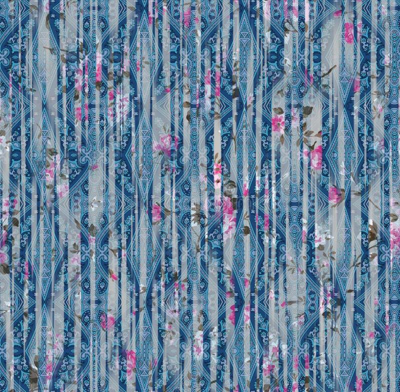 佩兹利样式种族无缝的绘画数字水彩花卉样式 图库摄影