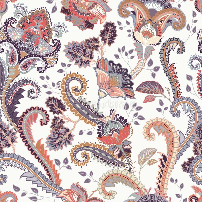 佩兹利花卉无缝的样式 印第安装饰品 传染媒介装饰花和佩兹利 种族样式 设计为 皇族释放例证