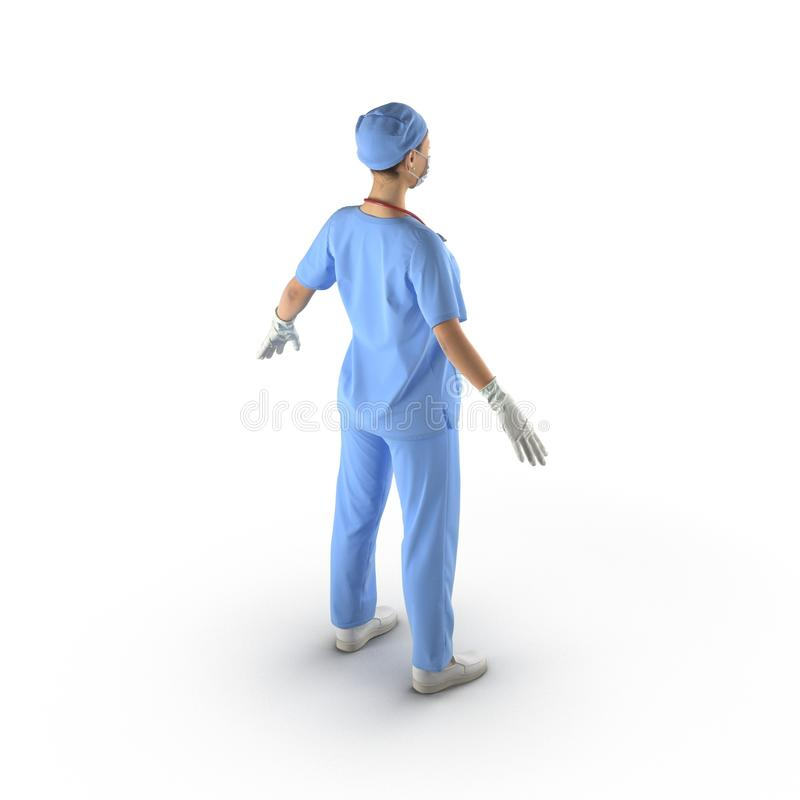 佩带一个蓝色外套和听诊器的女性亚裔医生 查出在白色 3d例证 皇族释放例证