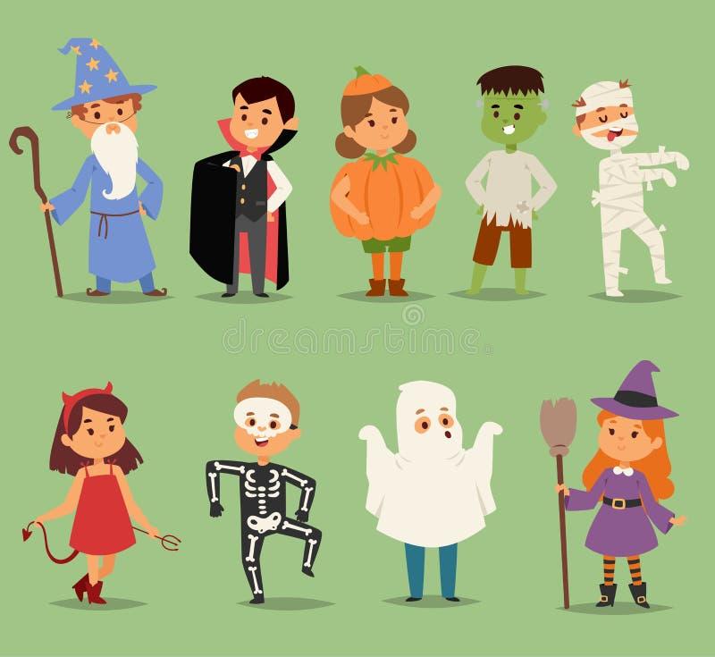 佩带万圣夜的动画片逗人喜爱的孩子打扮传染媒介字符 小孩人万圣夜德雷库拉,巫婆,鬼魂 皇族释放例证
