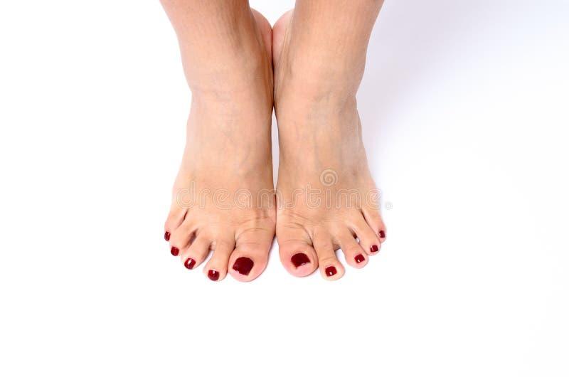佩带五颜六色的现代红色指甲的妇女 库存图片