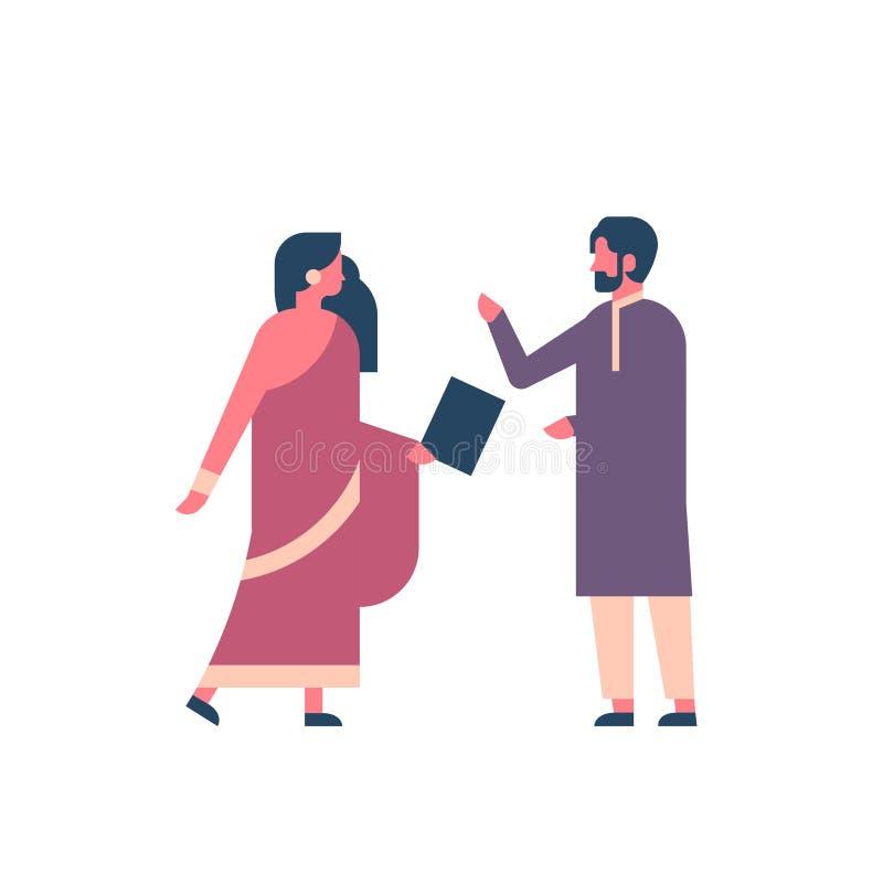 佩带全国传统衣裳印度人妇女通信概念的印地安夫妇使用男女片剂 向量例证