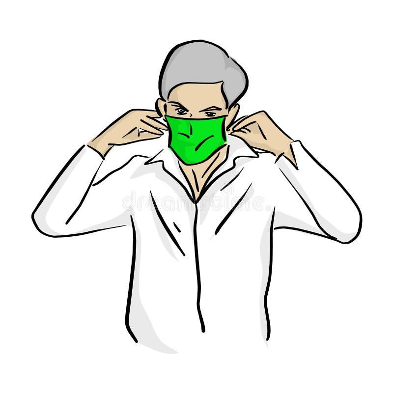 佩带医疗绿色面具传染媒介例证剪影乱画的人手拉与在白色背景隔绝的黑线 皇族释放例证