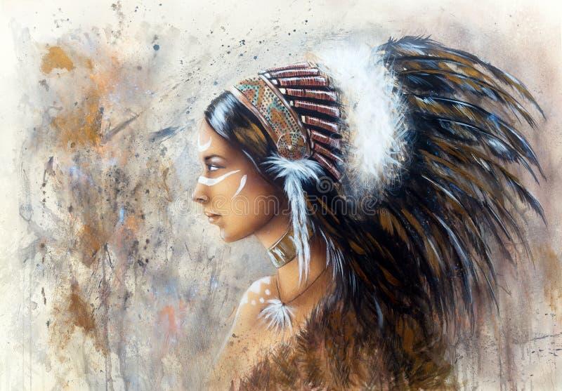 佩带双的一名年轻印地安妇女的美好的气刷绘画 向量例证