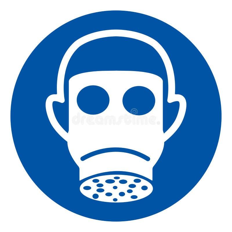 佩带呼吸道防护标志标志,传染媒介例证,隔绝在白色背景标签 EPS10 皇族释放例证