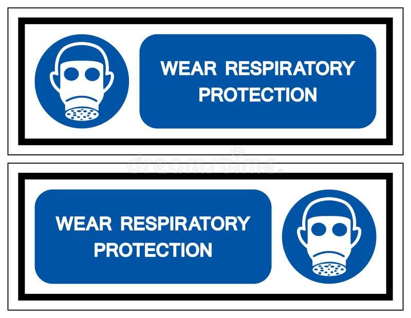 佩带呼吸道防护标志标志,传染媒介例证,隔绝在白色背景标签 EPS10 库存例证