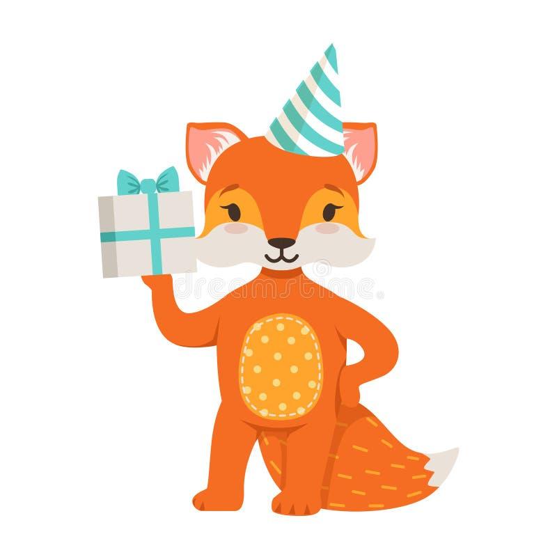 佩带在党帽子的逗人喜爱的橙色狐狸字符拿着礼物盒,滑稽的动画片森林动物摆在的传染媒介 皇族释放例证
