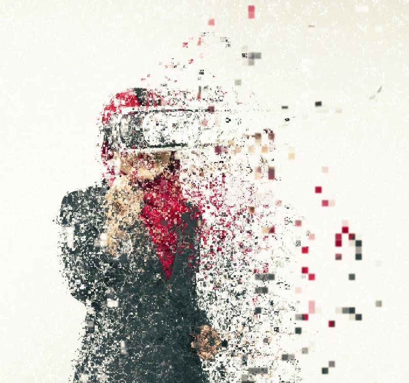 佩带在摘要的惊奇少妇虚拟现实风镜 免版税库存照片