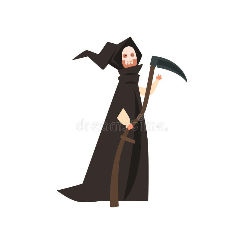 佩带在死亡服装,化妆舞会,狂欢节,万圣夜党动画片在白色背景的传染媒介例证的人 库存例证