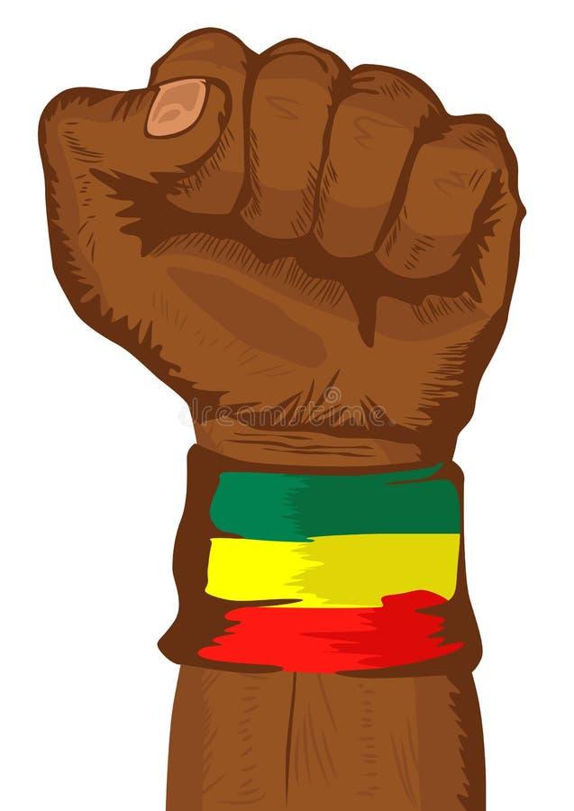 佩带埃塞俄比亚袖口的旗子拳头 皇族释放例证